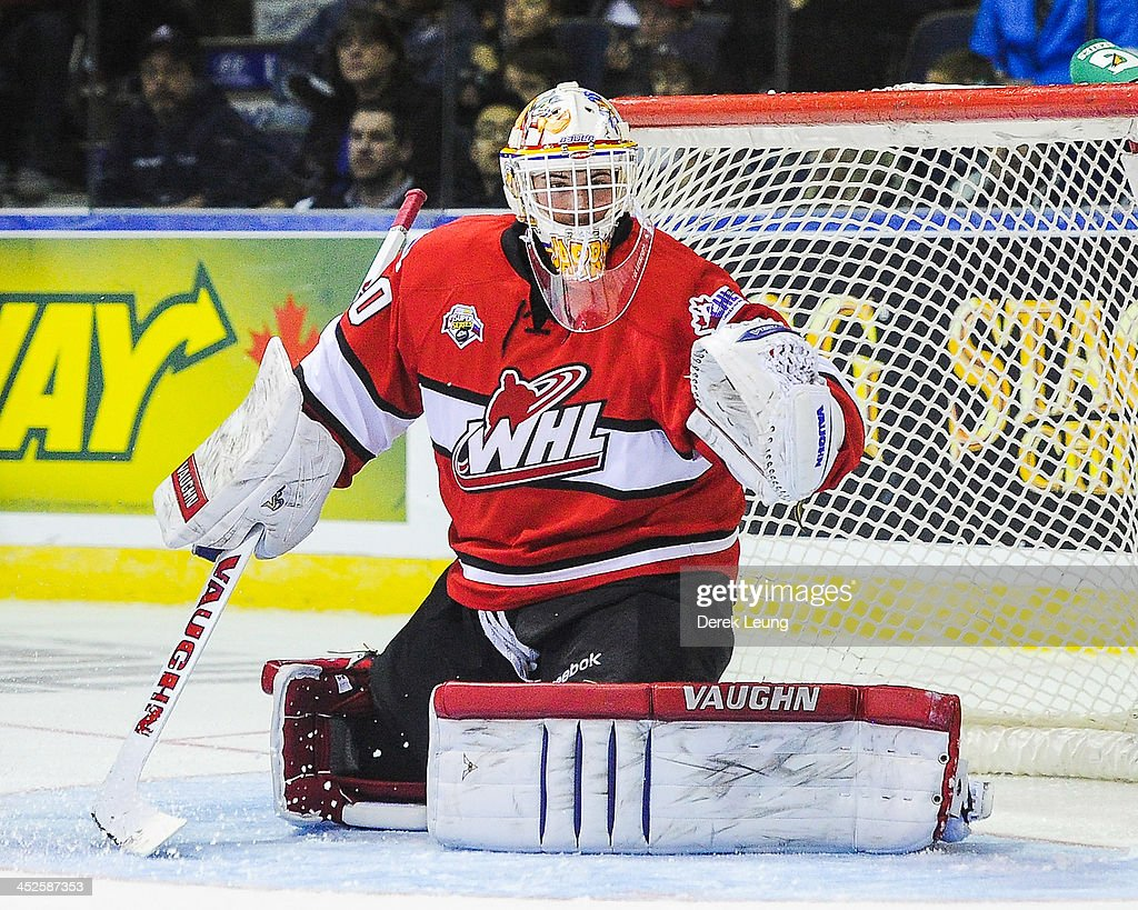 <a gi-track='captionPersonalityLinkClicked' href=/galleries/search?phrase=Tristan+Jarry&family=editorial&specificpeople=8914370 ng-click='$event.stopPropagation()'>Tristan Jarry</a> #30 of the WHL All-Stars skates against team Russia during Game Six of the WHL-Russia Subway Super Series on November, 28, 2013 at ENMAX Centre in Lethbridge, Alberta, Canada.