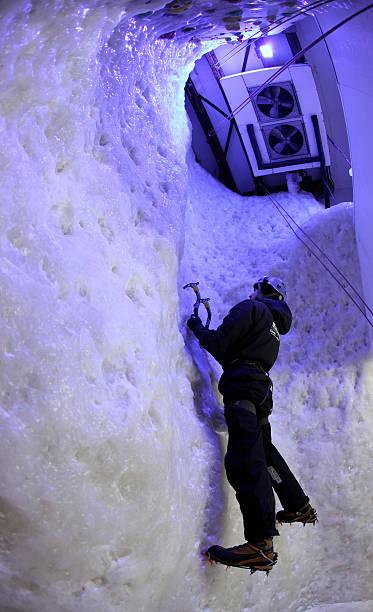 Customers Scale Ellis Brigham S 8m High Ice Climbing Wall