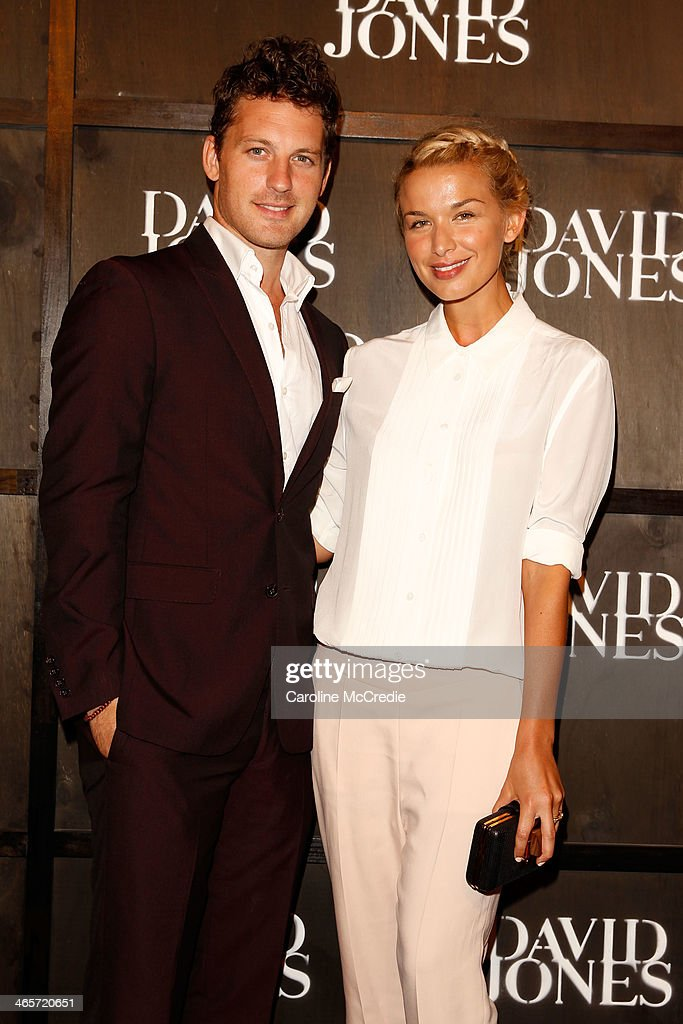 Tristan MacManus and Tahyna Tozzi arrives at the David Jones A/W 2014 Collection Launch at the David Jones Elizabeth Street Store on January 29 2014...