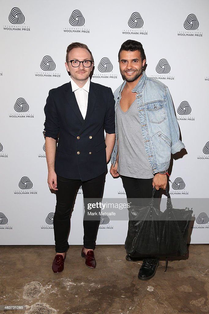 Tristan Melle (L) and guest at the International Woolmark Prize during Mercedes-Benz Fashion Week Australia 2014 at Carriageworks on April 10, 2014 in Sydney, Australia.