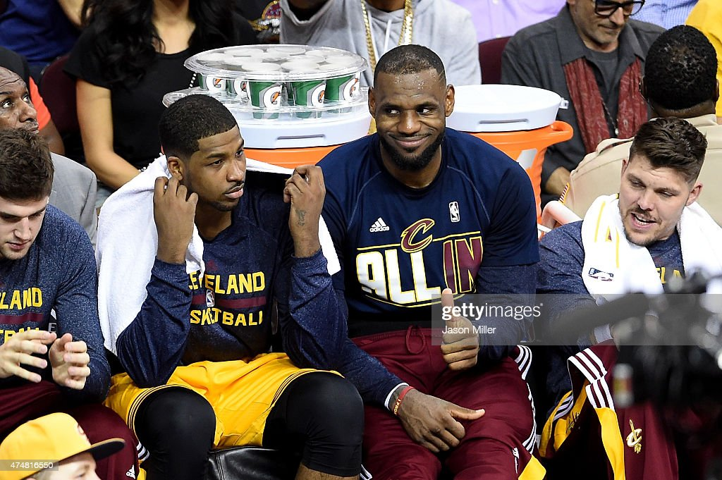 Tristan Thompson #13 and LeBron James #23 of the Cleveland Cavaliers look on from the bench late in the second half against the Atlanta Hawks during Game Four of the Eastern Conference Finals of the 2015 NBA Playoffs at Quicken Loans Arena on May 26, 2015 in Cleveland, Ohio.