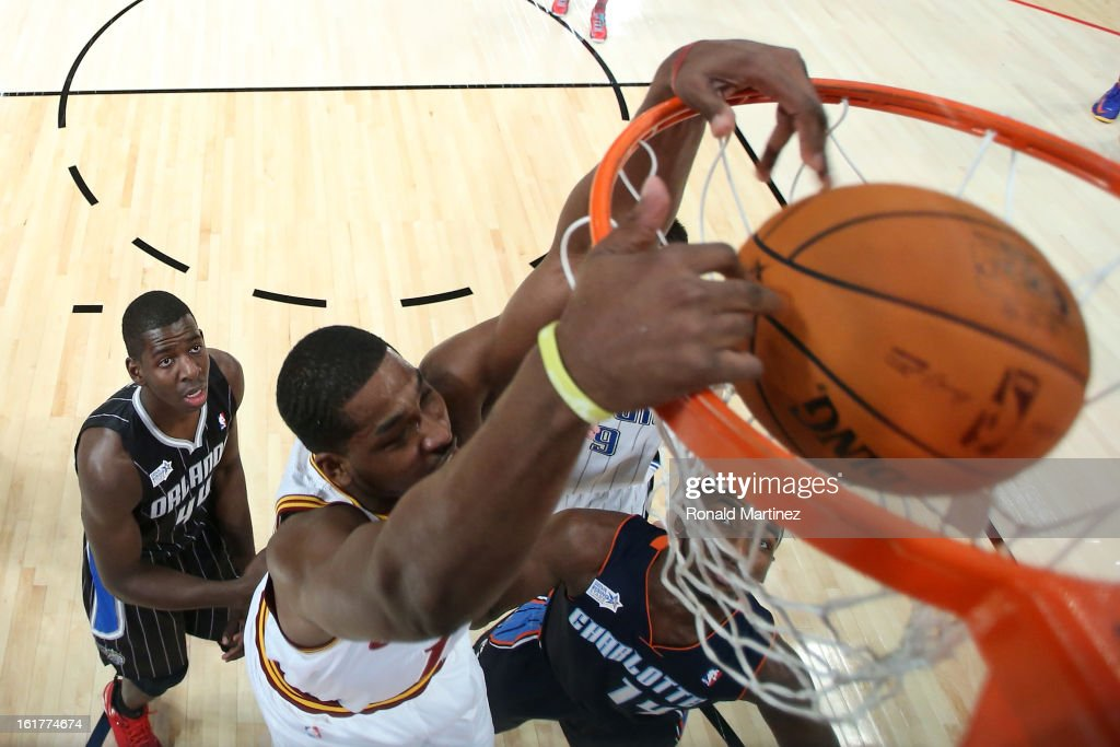 Tristan Thompson #13 of the Cleveland Cavaliers and Team Chuck dunks the ball over Michael Kidd-Gilchrist #14 of the Charlotte Bobcats and Team Shaq in the first half in the BBVA Rising Stars Challenge 2013 part of the 2013 NBA All-Star Weekend at the Toyota Center on February 15, 2013 in Houston, Texas.