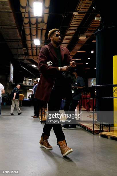 Tristan Thompson of the Cleveland Cavaliers arrives at the arena before a game against the Boston Celtics during Game Two of the Eastern Conference...
