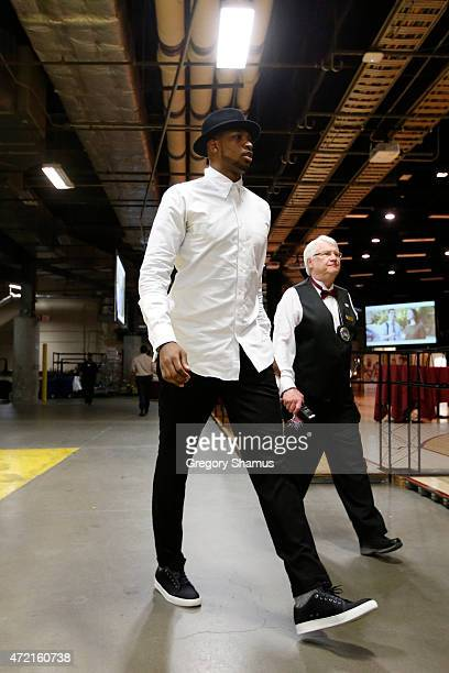 Tristan Thompson of the Cleveland Cavaliers arrives at the arena before a game against the Chicago Bulls in Game One of the Eastern Conference...