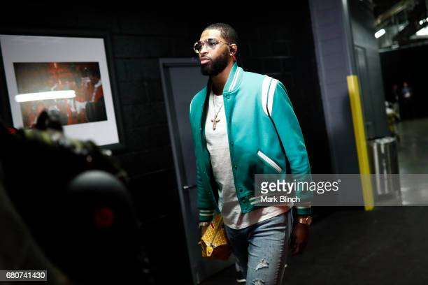 Tristan Thompson of the Cleveland Cavaliers arrives at the arena before Game Four of the Eastern Conference Semifinals against the Toronto Raptors...