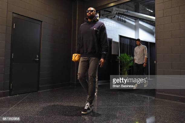 Tristan Thompson of the Cleveland Cavaliers arrives at the arena before Game Two of the Eastern Conference Finals against the Boston Celtics during...