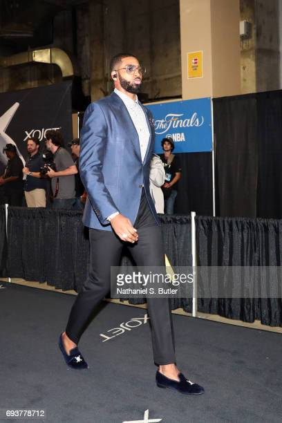 Tristan Thompson of the Cleveland Cavaliers arrives at the arena before Game Two of the 2017 NBA Finals against the Golden State Warriors at Oracle...