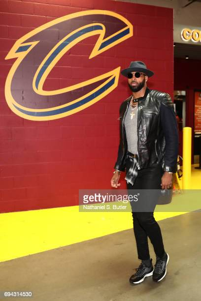 Tristan Thompson of the Cleveland Cavaliers arrives at the arena before Game Four of the 2017 NBA Finals against the Golden State Warriors on June 9...
