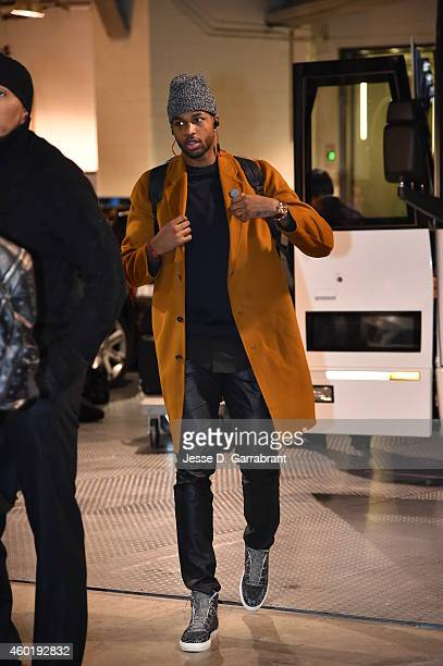 Tristan Thompson of the Cleveland Cavaliers arrives at the arena before the game against the Brooklyn Nets on December 8 2014 at the Barclays Center...