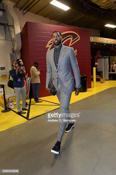 Tristan Thompson of the Cleveland Cavaliers arrives at the arena before the game against the Golden State Warriors in Game Three of the 2016 NBA...