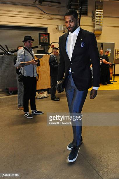 Tristan Thompson of the Cleveland Cavaliers arrives before Game Four of the 2016 NBA Finals against the Golden State Warriors at The Quicken Loans...