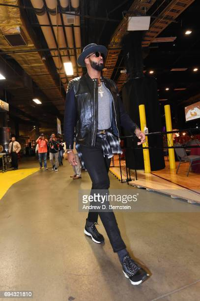 Tristan Thompson of the Cleveland Cavaliers arrives before Game Four of the 2017 NBA Finals on June 9 2017 at Quicken Loans Arena in Cleveland Ohio...