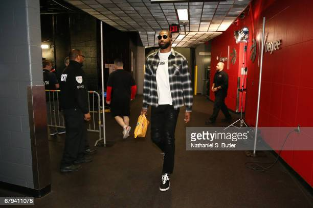 Tristan Thompson of the Cleveland Cavaliers arrives before Game Three of the Eastern Conference Semifinals of the 2017 NBA Playoffs on May 5 2017 at...