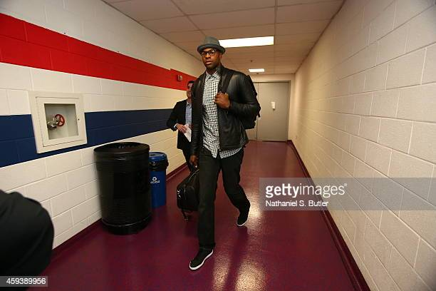 Tristan Thompson of the Cleveland Cavaliers arrives before the game against the Washington WIzards on November 21 2014 at Verizon Center in...