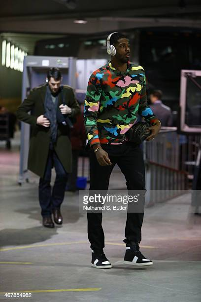 Tristan Thompson of the Cleveland Cavaliers arrives before the game against the Brooklyn Nets on March 27 2015 at the Barclays Center in the Brooklyn...