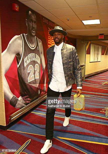 Tristan Thompson of the Cleveland Cavaliers arrives before the game against the New York Knicks on October 25 2016 at Quicken Loans Arena in...
