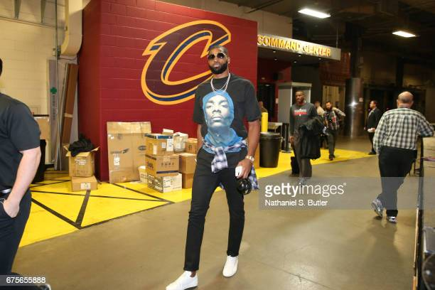 Tristan Thompson of the Cleveland Cavaliers arrives before the game against the Toronto Raptors in Game One of the Eastern Conference Semifinals of...