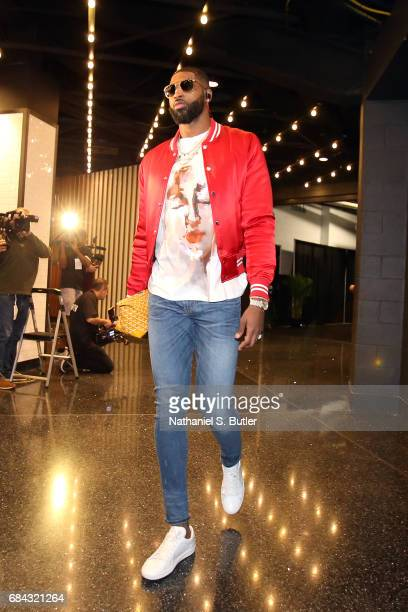 Tristan Thompson of the Cleveland Cavaliers arrives before the game against the Boston Celtics in Game One of the Eastern Conference Finals during...