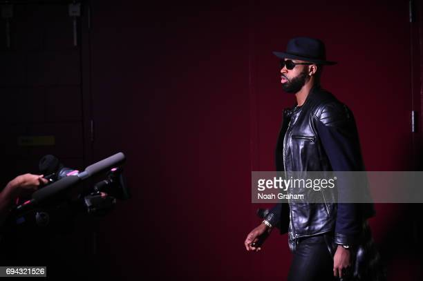 Tristan Thompson of the Cleveland Cavaliers arrives before the game against the Golden State Warriors in Game Four of the 2017 NBA Finals on June 9...
