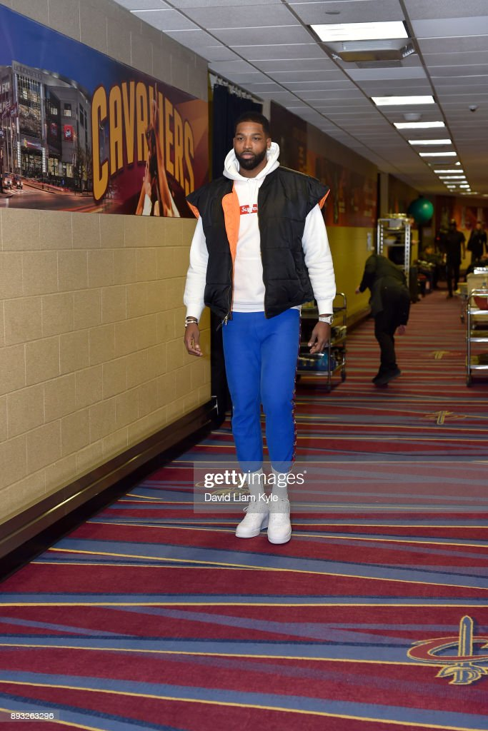Tristan Thompson #13 of the Cleveland Cavaliers arrives before the game against the Los Angeles Lakers on December 14, 2017 at Quicken Loans Arena in Cleveland, Ohio.