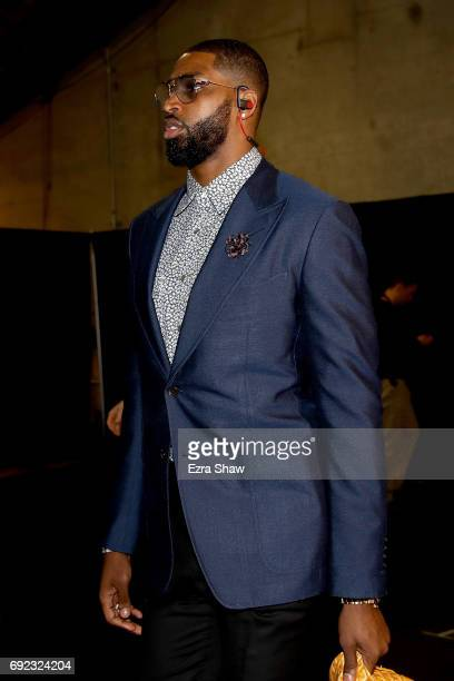 Tristan Thompson of the Cleveland Cavaliers arrives for Game 2 of the 2017 NBA Finals at ORACLE Arena on June 4 2017 in Oakland California NOTE TO...