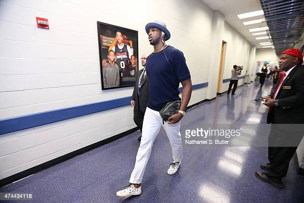 Tristan Thompson of the Cleveland Cavaliers arrives for Game Two of the Eastern Conference Finals against the Atlanta Hawks during the 2015 NBA...