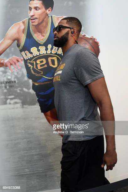 Tristan Thompson of the Cleveland Cavaliers arrives for practice and media availability as part of the 2017 NBA Finals on June 11 2017 at Warriors...