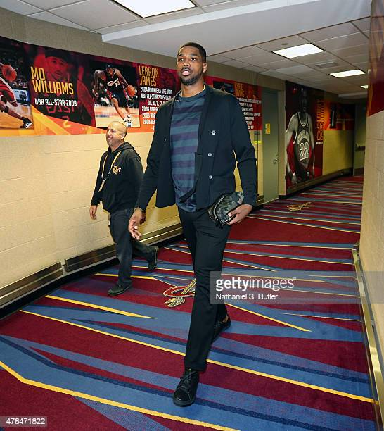 Tristan Thompson of the Cleveland Cavaliers arrives prior to Game Three of the 2015 NBA Finals at The Quicken Loans Arena on June 9 2015 in Cleveland...