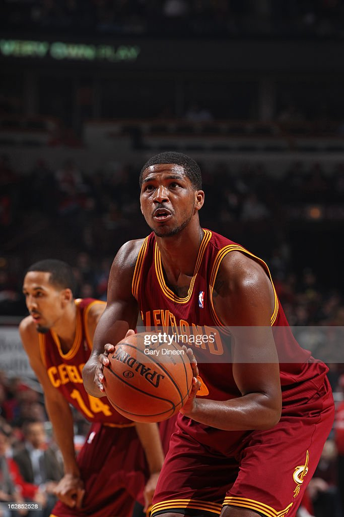 <a gi-track='captionPersonalityLinkClicked' href=/galleries/search?phrase=Tristan+Thompson&family=editorial&specificpeople=5799092 ng-click='$event.stopPropagation()'>Tristan Thompson</a> #13 of the Cleveland Cavaliers attempts a foul shot against the Chicago Bulls on February 26, 2012 at the United Center in Chicago, Illinois.