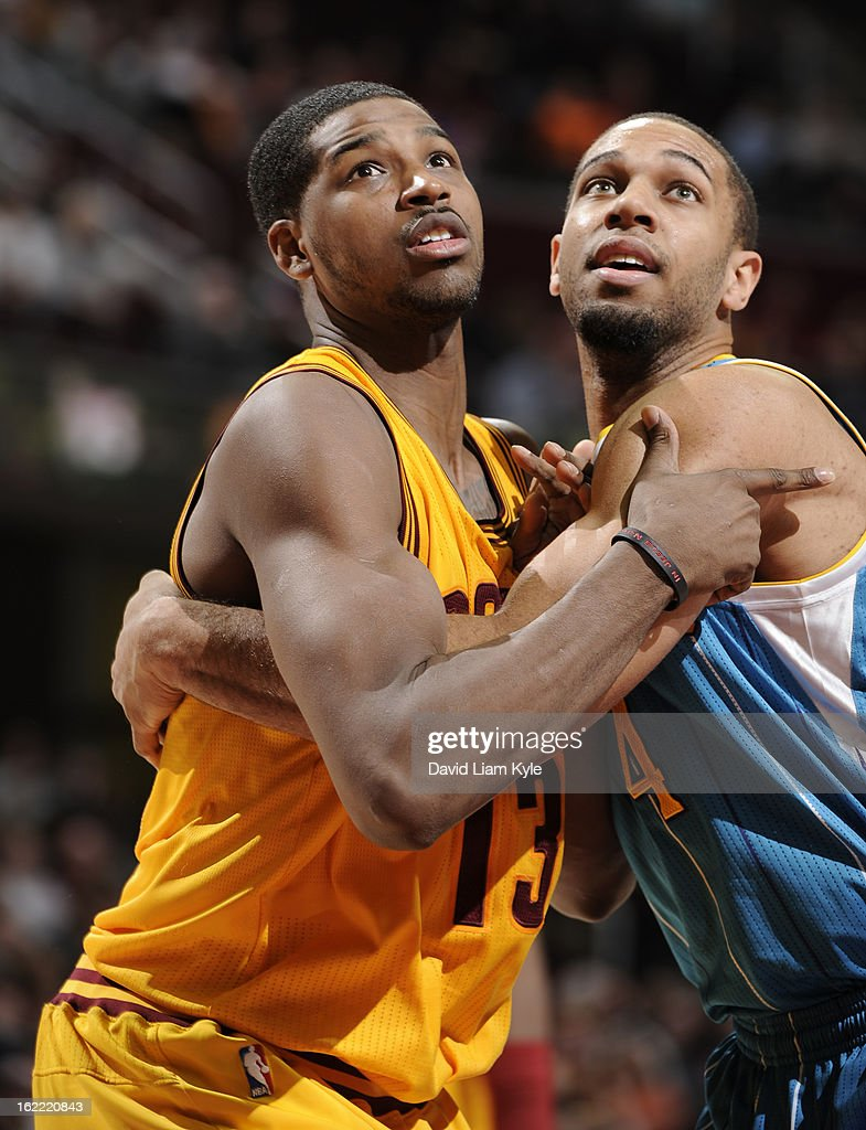 Tristan Thompson #13 of the Cleveland Cavaliers battles for rebound position against Xavier Henry #4 of the New Orleans Hornets at The Quicken Loans Arena on February 20, 2013 in Cleveland, Ohio.