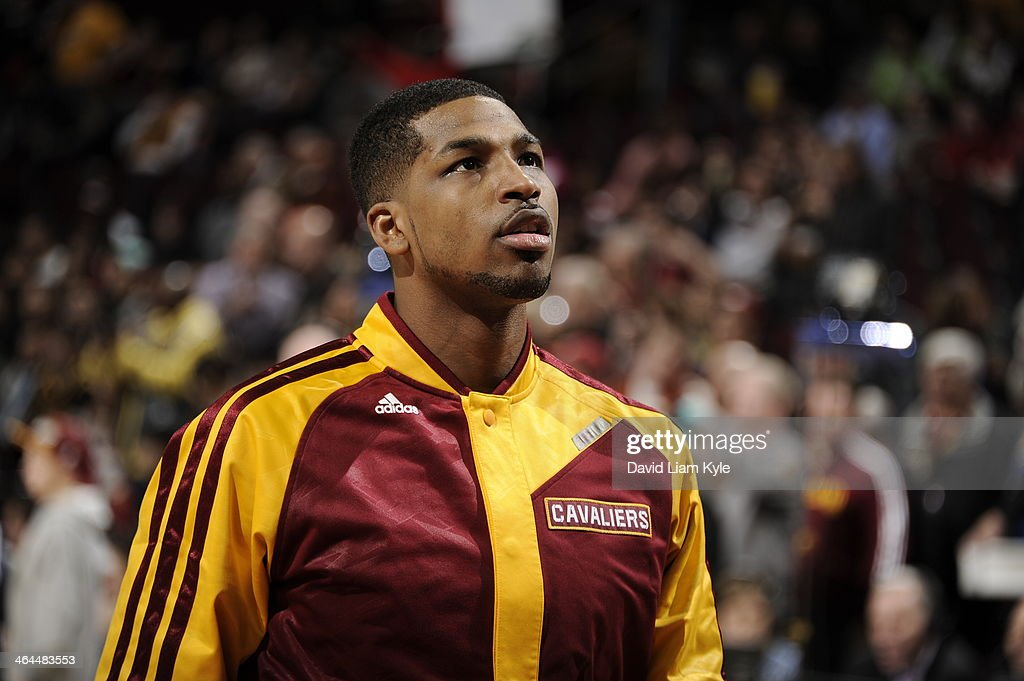 <a gi-track='captionPersonalityLinkClicked' href=/galleries/search?phrase=Tristan+Thompson&family=editorial&specificpeople=5799092 ng-click='$event.stopPropagation()'>Tristan Thompson</a> #13 of the Cleveland Cavaliers before the game against the Miami Heat at The Quicken Loans Arena on November 27, 2013 in Cleveland, Ohio.