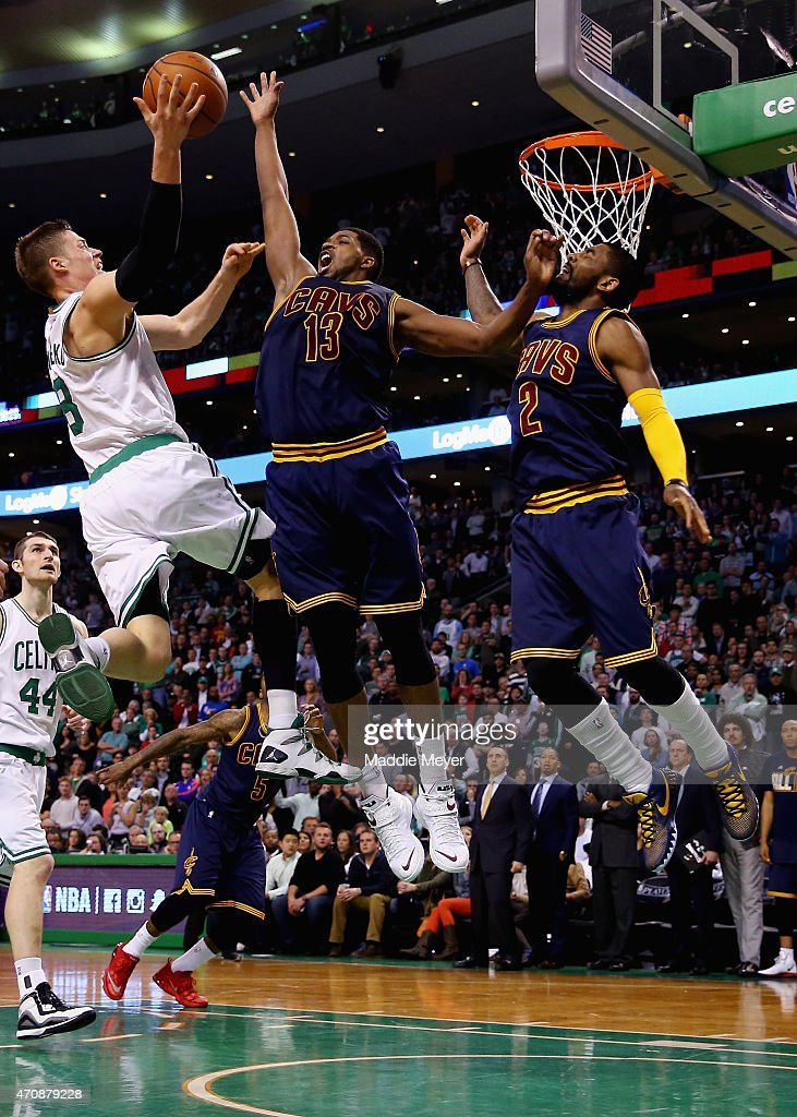 Tristan Thompson of the Cleveland Cavaliers blocks a shot by Jonas Jerebko of the Boston Celtics during the fourth quarter in the first round of the...