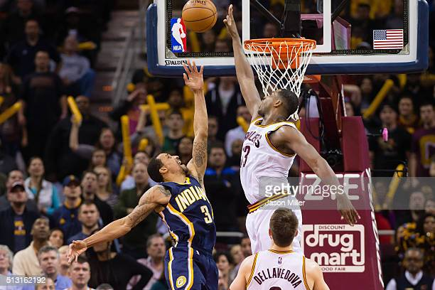 Tristan Thompson of the Cleveland Cavaliers blocks George Hill of the Indiana Pacers during the final seconds of the second half at Quicken Loans...