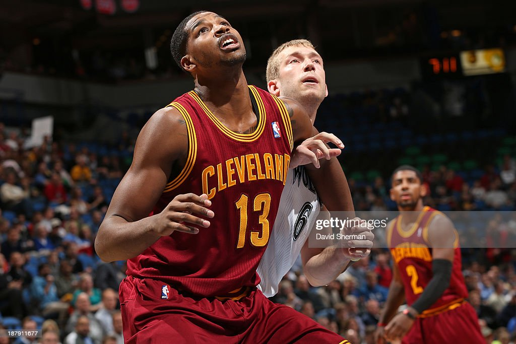 Tristan Thompson #13 of the Cleveland Cavaliers boxes out Robbie Hummel #6 the Minnesota Timberwolves on November 13, 2013 at Target Center in Minneapolis, Minnesota.