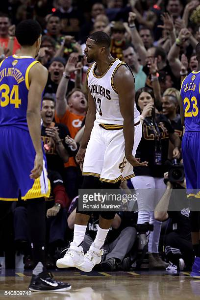 Tristan Thompson of the Cleveland Cavaliers celebrates after a dunk in the first half against the Golden State Warriors in Game 6 of the 2016 NBA...