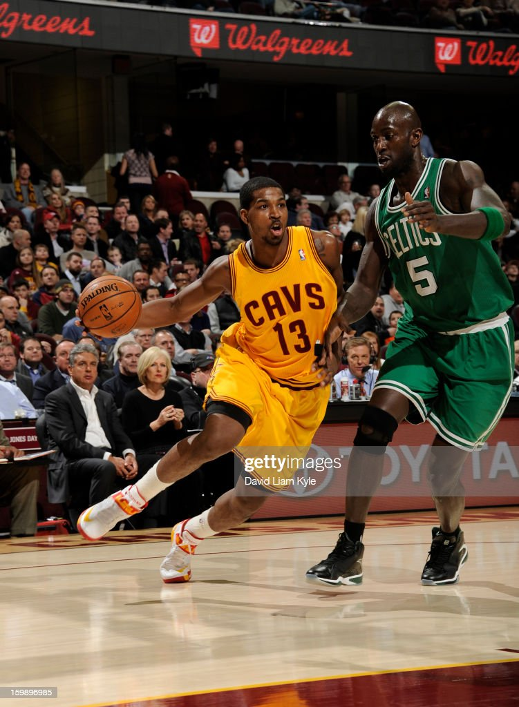 Tristan Thompson #13 of the Cleveland Cavaliers drives to the basket against Kevin Garnett #5 of the Boston Celtics at The Quicken Loans Arena on January 22, 2013 in Cleveland, Ohio.