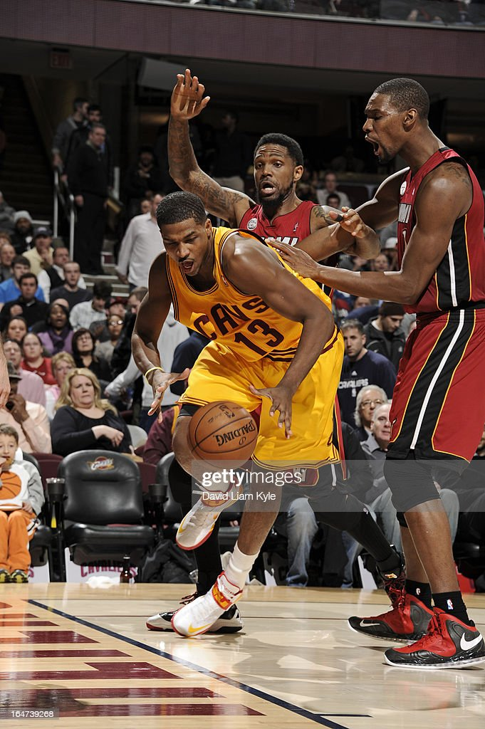 Tristan Thompson #13 of the Cleveland Cavaliers drives to the basket against the Miami Heat at The Quicken Loans Arena on March 20, 2013 in Cleveland, Ohio.