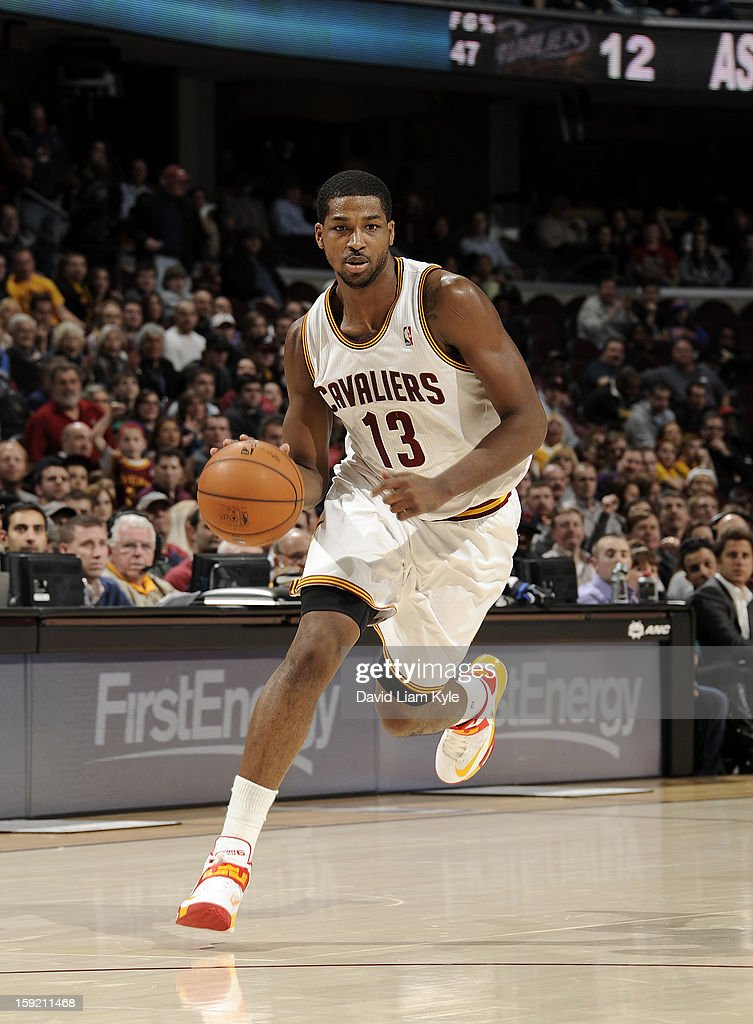 Tristan Thompson #13 of the Cleveland Cavaliers drives to the hoop against the Atlanta Hawks at The Quicken Loans Arena on January 9, 2013 in Cleveland, Ohio.