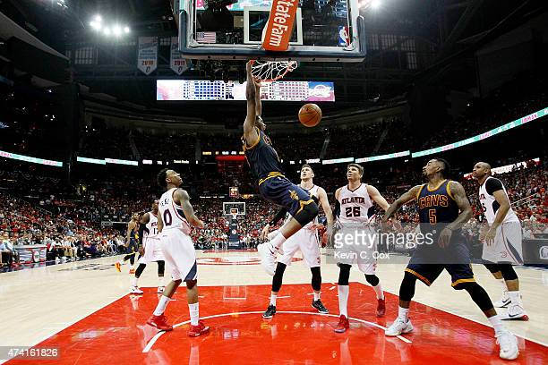 Tristan Thompson of the Cleveland Cavaliers dunks against the Atlanta Hawks in the second half during Game One of the Eastern Conference Finals of...