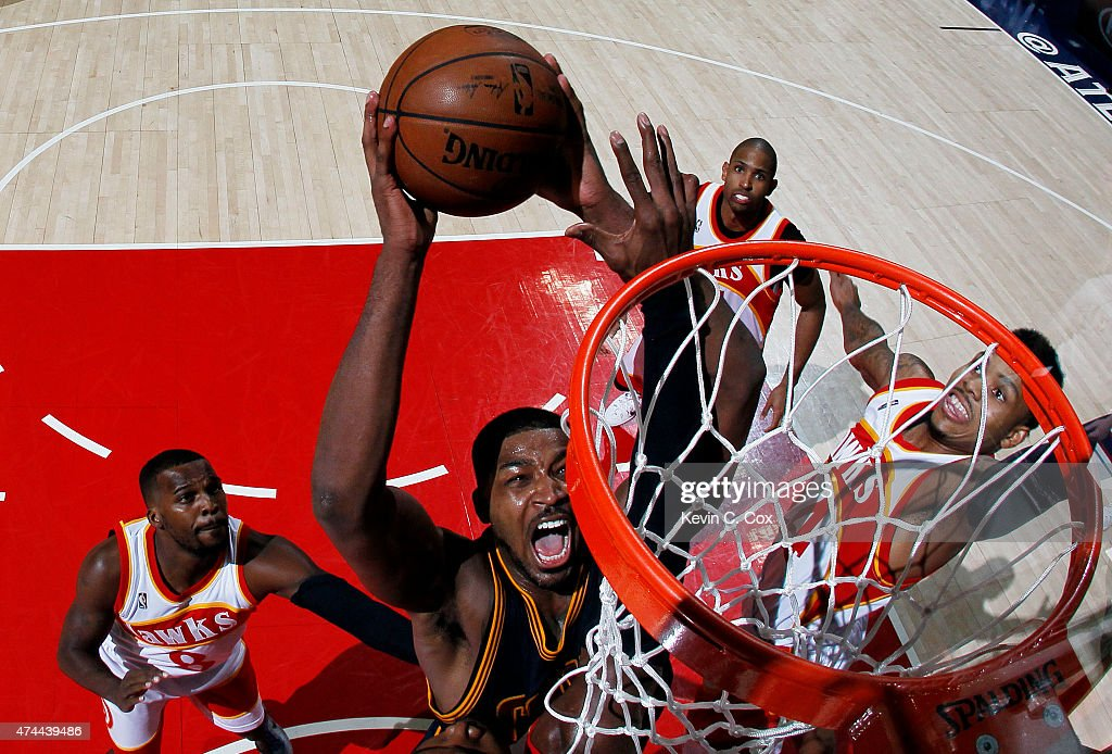 Tristan Thompson #13 of the Cleveland Cavaliers dunks against the Atlanta Hawks in the third quarter during Game Two of the Eastern Conference Finals of the 2015 NBA Playoffs at Philips Arena on May 22, 2015 in Atlanta, Georgia.