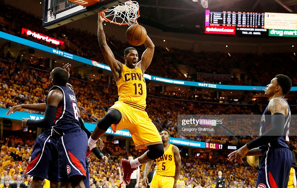Tristan Thompson #13 of the Cleveland Cavaliers dunks against the Atlanta Hawks in the fourth quarter during Game Three of the Eastern Conference Finals of the 2015 NBA Playoffs at Quicken Loans Arena on May 24, 2015 in Cleveland, Ohio.