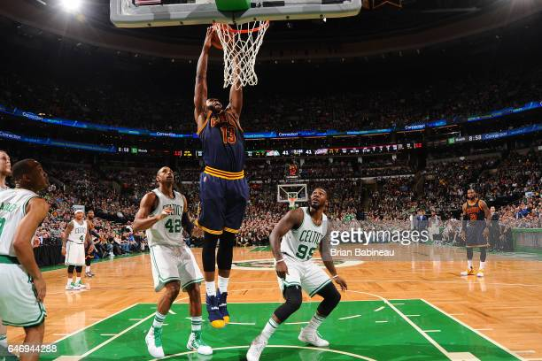 Tristan Thompson of the Cleveland Cavaliers dunks against the Boston Celtics on March 1 2017 at the TD Garden in Boston Massachusetts NOTE TO USER...