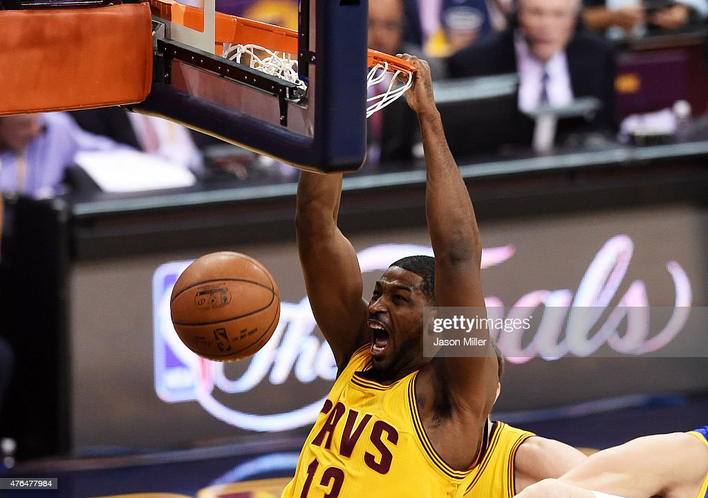 Tristan Thompson #13 of the Cleveland Cavaliers dunks against the Golden State Warriors in the first quarter during Game Three of the 2015 NBA Finals at Quicken Loans Arena on June 9, 2015 in Cleveland, Ohio.
