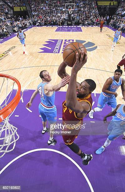Tristan Thompson of the Cleveland Cavaliers dunks against the Sacramento Kings on January 13 2017 at Golden 1 Center in Sacramento California NOTE TO...