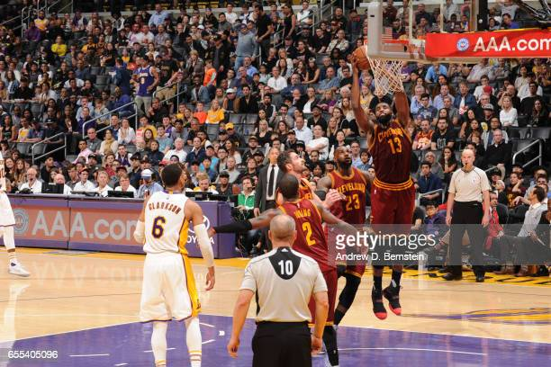 Tristan Thompson of the Cleveland Cavaliers dunks against the Los Angeles Lakers on March 19 2017 at STAPLES Center in Los Angeles California NOTE TO...