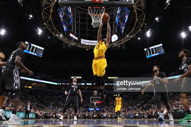 Tristan Thompson of the Cleveland Cavaliers dunks against the Minnesota Timberwolves on February 14 2017 at Target Center in Minneapolis Minnesota...
