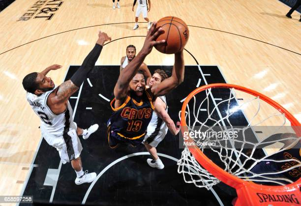 Tristan Thompson of the Cleveland Cavaliers dunks against the San Antonio Spurs during the game on March 27 2017 at the ATT Center in San Antonio...
