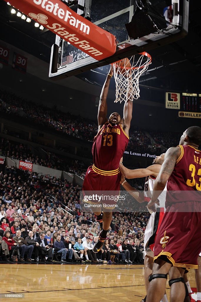 Tristan Thompson #13 of the Cleveland Cavaliers dunks against the Portland Trail Blazers on January 16, 2013 at the Rose Garden Arena in Portland, Oregon.