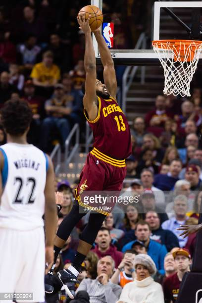Tristan Thompson of the Cleveland Cavaliers dunks during the first half against the Minnesota Timberwolves at Quicken Loans Arena on February 1 2017...