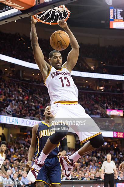 Tristan Thompson of the Cleveland Cavaliers dunks during the second half against the Indiana Pacers at Quicken Loans Arena on February 29 2016 in...